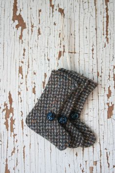 Three little wool tweed stocking ornaments for your Christmas tree! The tweed has hues of blue, brown and taupe with metallic blue bells (that really