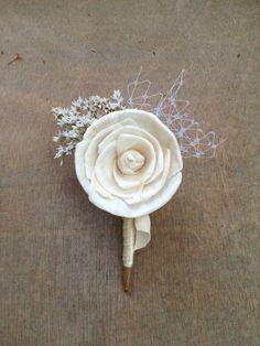 Soft White Wildflower Wedding Corsage / Boutonniere by TheSunnyBee, $16.50