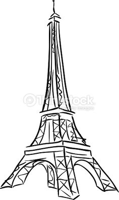 Vector Art : Vector illustration of Tower Eiffel. Eiffel Tower Drawing, Eiffel Tower Art, Paris Black And White, Black And White Drawing, Torre Eiffel Vector, Thema Paris, Vexx Art, Object Drawing, Cool Sketches