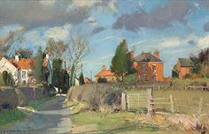 David Curtis (1948) Scudding Clouds Everton   Oil, 9x12