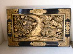 RANMA JAPANESE TRANSOM | ... Japanese Antique Transom Window Buddist Wood Carving Ranma Swallow