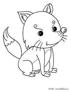 kawaii fox coloring page