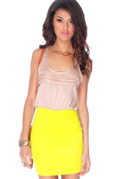 Pleats Me So Contrast Dress in Champagne and Neon Yellow $30