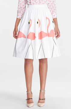 Free shipping and returns on Alice + Olivia 'Hale' Midi Puffed Skirt at Nordstrom.com. Pink flamingos give playful panache to a full A-line skirt shaped by tiny gathers below the banded waist.