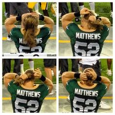 The perks of sitting directly behind Clay Matthews: I finally witnessed this phenomenon. Packers Baby, Packers Football, Football Memes, Green Bay Packers, Clay Matthews Iii, Go Pack Go, Nfl Sports, Georgia Bulldogs, New York Giants
