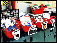 Social Studies Organization: Book/Resource Buckets. Works for all grade levels, separate by social studies subject. Buckets full of books, newspaper/magazine articles, information sheets.