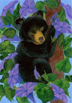 "Bear Art - ""Morning Glory"" - Acrylic Painting by Lorraine Skala - Please visit my Etsy Shop to purchase notecards & prints"