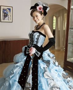 Blue and Black Wedding Dress - Available in Every Color Colored Wedding Dress, Wedding Bridesmaid Dresses, Dream Wedding Dresses, Wedding Outfits, Elegant Ball Gowns, Fancy Gowns, Charro Dresses, Punk Dress, American Dress