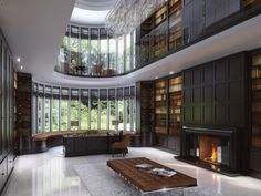 Dramatic Clive Christian Contemporary Walnut Library