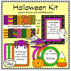 Halloween Doodle Kit $ http://www.teacherspayteachers.com/Product/Halloween-Doodle-Kit-Papers-Frames-and-Characters-1285659