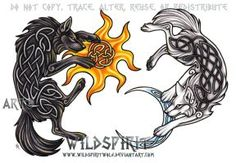 Ragnarok Wolves - Hati + Skoll by WildSpiritWolf
