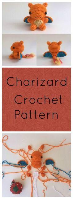 Make your own crochet Charizard form Pokemon! Free crochet amigurumi pattern
