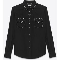 Saint Laurent Classic Studded Western Shirt In Black Twill And... (1.850 BRL) ❤ liked on Polyvore featuring men's fashion, men's clothing, men's shirts, men's casual shirts, shirts, black, mens round collar shirt, mens stitch shirt, men's snap front long sleeve shirts and mens western snap shirts