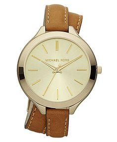 Michael Kors Watch, Women's Slim Runway Luggage Leather Double Wrap Strap 42mm MK2256 - Watches - Jewelry & Watches - Macy's