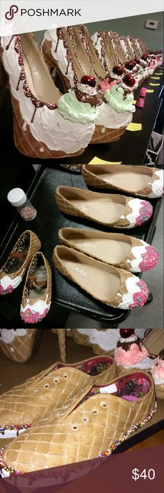 Custom made ice cream shoes Custom made flats, heels, or sneakers to look like a waffle cone with ice cream, sprinkles, and a cherry! Hand painted and designed. Your choice of ice cream color on heels, lace color on sneakers, and frosting color on flats. I personally make them. Shoes