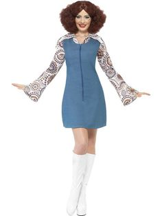 You can purchase a Women's Groovy Dancer Costume for costume parties from the Halloween Spot. This groovy dancer costume comes with a blue Dress with Mock Shirt. Disco Fancy Dress Costume, Adult Fancy Dress, Fancy Dress Outfits, Dresses For Work, Costume Dress, Girl Costumes, Costumes For Women, Halloween Costumes, Seventies Fashion