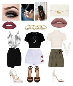 """""""Untitled #26"""" by ayo-chinita on Polyvore featuring Miss Selfridge, Staud, Christian Louboutin, Calvin Klein, Givenchy, GUESS, Ettika, Vanessa Mooney, ASAP and Gucci"""