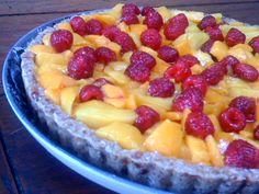 Raw Coconut Cream Tart with Fresh Peaches and Raspberries