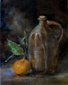 Pot and Mandarin Orange 8 x 10 Oil