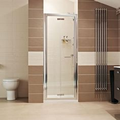 Lumin8 Bi-Fold Door Shower Enclosure - folds inwards. Available as 900 or 1000 width