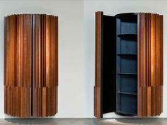 L'ECLAIREUR Wall cabinet with external structure made of strips of recycled wood   Vincenzo De Cotiis