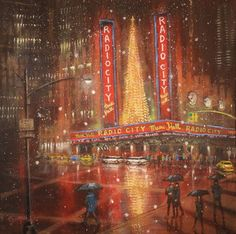 Original Cities Painting by Tom Shropshire Hall Painting, City Painting, Parts Of The Heart, National Landmarks, Original Art, Original Paintings, Christmas Spectacular, Painting Competition, Radio City Music Hall
