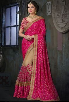 New Beauteous Beige and Rani Pink Party Ware Sarees