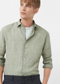 Linnen slim-fit overhemd - Overhemden voor Heren | MANGO Man Nederland