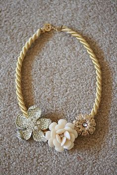 """diy necklace: rope chain and old clip on earrings.  A great way to repurpose those """"hand me down"""" earrings from Mom"""