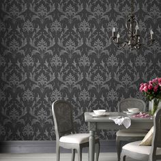 Graham & Brown offers a wide selection of Damask wallpaper and wall coverings for your home. Shop for modern design wallpaper and Damask wall coverings now. Discount Wallpaper, Cheap Wallpaper, Home Wallpaper, Grey Wallpaper Living Room, Black And Grey Wallpaper, Grey Lounge, Grey Walls, Bedroom Decor, Bedroom Ideas