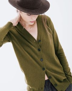 J.Crew women's v-neck cardigan sweater and Bailey for J.Crew felt hat. To preorder call 800 261 7422 or email erica@jcrew.com.