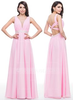 A-Line/Princess V-neck Floor-Length Chiffon Prom Dress With Ruffle Beading Appliques Lace Sequins (018059412)