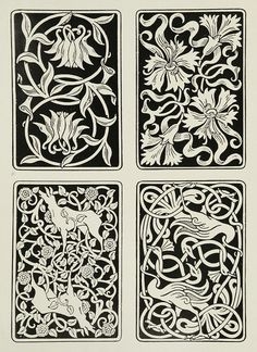 Aymer Vallance, for the backs of playing cards. From The Yellow Book (II), 1894.