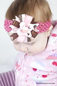 Brown and Pink Cupcake Hair Bow by Sammy Banany's by iguania03, $6.99