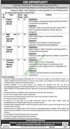 Transport Planning & Traffic Engineering Unit KPK Peshawar Apply Online Jobs Application Form Download 2017