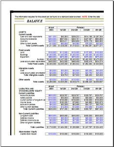 Company Balance Sheet A Template  Templates