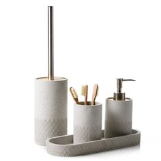 A raw, concrete design with unique patterned detailing, the Alexis bathroom accessories range adds instant style and sophistication to any bathroom. Diy Bathroom Decor, Simple Bathroom, Bath Decor, Bathroom Soap Dispenser, Soap Dispensers, Toilet Accessories, Bathroom Accessories Sets, Modern Powder Rooms, Urban Decor