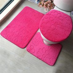 Load image into Gallery viewer, Bathroom Mat Set Embossing Flannel Floor Rugs Cushion Toilet Seat Cover Bath Mat for Home Decoration - Peaceloversart by Miranda Bathroom Carpet, Bathroom Rugs, Bath Rugs, Bathroom Flooring, Bathroom Furniture, Bathroom Mat Sets, Bath Mat Sets, Cottage Style Bathrooms, Best Christmas Gifts