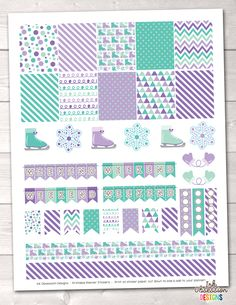 Purple Ice Skating Printable Planner Stickers Weekly Kit – Instant Download PDF for your Erin Condren Life Planner