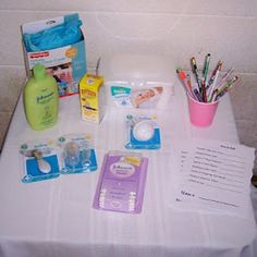 Price is right baby shower game. Each guest guesses the price of 8 baby items. The guest with the most correct guesses wins a prize. The mom to be keeps all of the baby items. I love this game...especially with older people at the shower! They have no idea what it costs to raise a baby today!