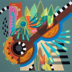 Surreal Abstract Musical Themed String Guitar Cuban Tropical Jazz Print of Original Painting Greens Equestrian Gifts, Surrealism Painting, Canvas Paper, Colorful Paintings, Limited Edition Prints, Cuban, Spirit Animal, Canvas Art Prints, Vivid Colors