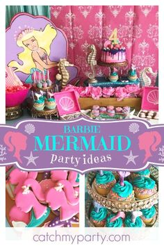 Don& miss out on this adorable Barbie Mermaid-inspired birthday party! Cookies are s . Barbie Birthday Party, 5th Birthday Party Ideas, Barbie Party, 7th Birthday, Birthday Cookies, Mermaid Birthday Decorations, Mermaid Barbie, Little Girl Birthday, Fun