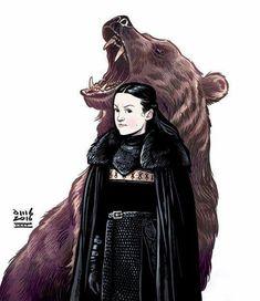 Game of Thrones Cartoon Art of Lady Lyanna Mormont of the Bear Island by David M. Dessin Game Of Thrones, Arte Game Of Thrones, Game Of Thrones Artwork, Game Of Thrones Fans, Cartoon Kunst, Cartoon Art, Cartoon Brain, Horse Cartoon, Winter Is Here