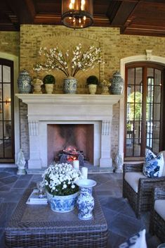 In any room lucky enough to have a fireplace, the mantle, whether it contains a roaring fire or not, instantly becomes the main focal point for design.