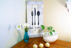 Eat...With Fork, Knife & Spoon Silhouette Bon Appetit! Painted Wood Sign Kitchen Decor Housewarming Gift by PineTerraceTreasures on Etsy