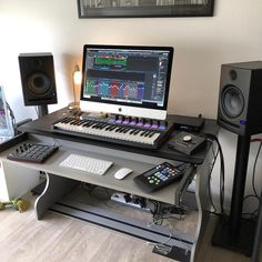 What do you think of this setup? Go check today's tip in stories! Pic by: All photos are property of their respective owners posted for entertainment purposes only and have no relation to studio and/or its staff. Home Recording Studio Setup, Home Studio Setup, Music Studio Room, Studio Ideas, Instruments, Studio Equipment, Studio Furniture, Hieroglyphics Tattoo, Dj Setup