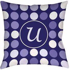 Thumbprintz Dots Monogram Navy Decorative Pillows