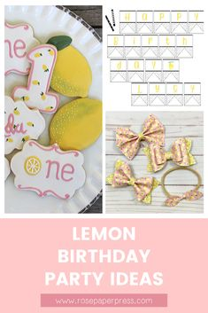 The best ideas for hosting a Lemon Birthday Party for kids. Lemonade Birthday Party ideas including invitations, cookies, outfits, and decorations. Kids Birthday Themes, Birthday Banners, Birthday Invitations Kids, 2nd Birthday Parties, Boy Birthday, Black Balloons, Party Stores, 1st Birthdays, Holiday Cards