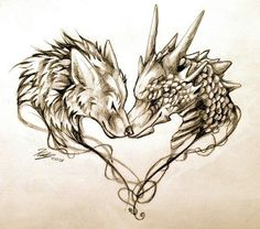 So cute!! A wolf and a dragon making a heart!!