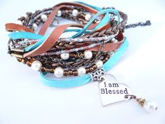 Blessed Turquoise & Brown Leather Wrap. Pearls, Glass Beads, Heart Charms, Braided Leather Cord, Charm Holder, Boho Bracelet